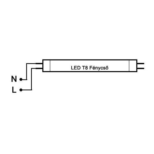 LED fénycső T8 20W 1200mm természetes fehér alu-plastic