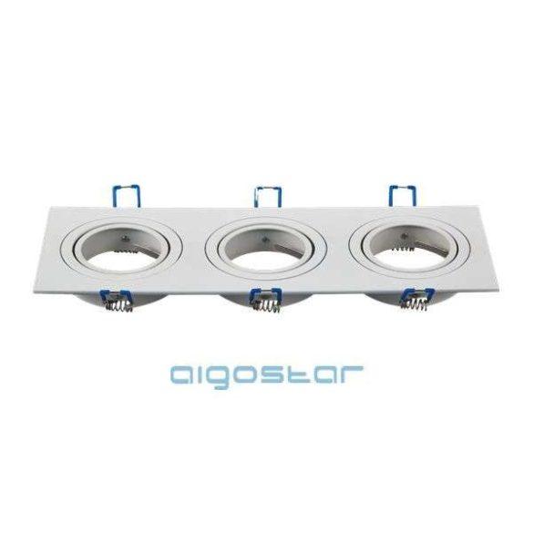Aigostar LED spot lámpa beépítő keret szögletes tripla M1030S-03 fehér GU10 és MR16-os LED izzókhoz