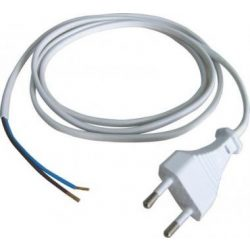 Hálózati fehér kábel 3 méter, 2x0,75 mm2