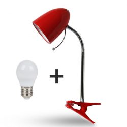 Aigostar Asztali lámpa piros csiptetős 4W-os Természetes fehér fényű izzóval