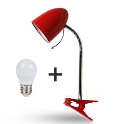 Aigostar Asztali lámpa piros csiptetős 6W-os Természetes fehér fényű izzóval