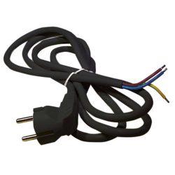 Fekete hálózati kábel 3 méter, 3x1,5 mm2