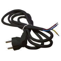 Hálózati kábel 3x0,75 mm2, fekete, 2 méter