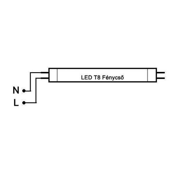 LED fénycső T8 24W 1500mm 6500K 3360lm 140lm/W alu-plastic