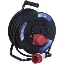 Dobhosszabbító 25m, 230V/400V, max 13A/12A fázisonként, IP44, 5x1,5mm2 gumi kábel, hőkioldó