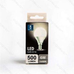 Led gömb izzó, G45, E14, 6W, hideg fehér szín, 3 év garancia.