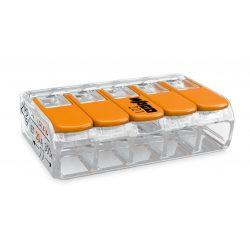 WAGO oldható vezetékösszekötő 5P, 0,2-4 mm2, tömör és sodrott vezetékhez.