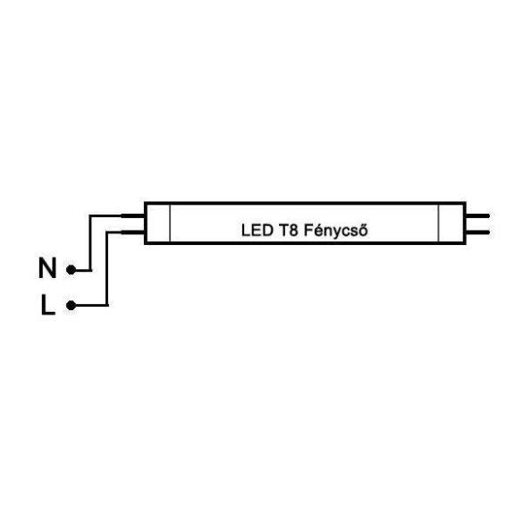 LED fénycső T8 20W 1200mm hideg fehér alu-plastic