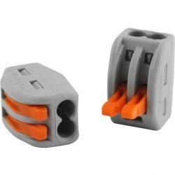 WAGO oldható vezetékösszekötő 2P, 0,08-2,5 mm2, tömör és sodrott vezetékhez. 4 mm4 tömör vezetékhez.