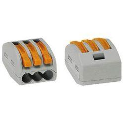 WAGO oldható vezstékösszekötő 3P, 0,08-2,5 mm2 tömör és sodrott vezetékhez. 4 mm2 tömör vezetékhez.