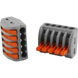 WAGO oldható vezetékösszekötő 5P, 0,08-2,5 mm2 tömör és sodrott vezetékhez. 4 mm2 tömör vezetékhez.
