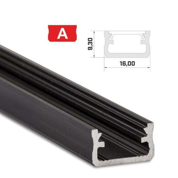 LED Alumínium Profil Standard [A] Fekete 1 méter