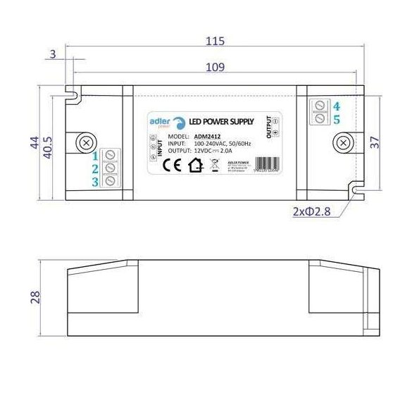 ADLER Led tápegység ADM-24-12 24W 12V