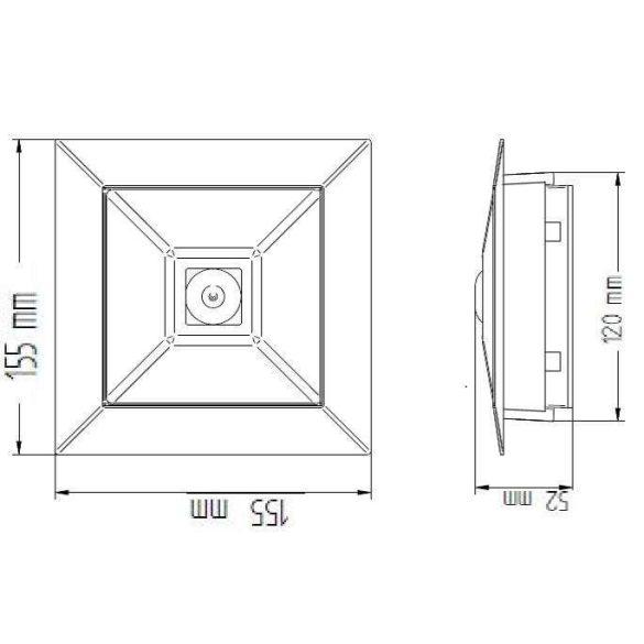 Mennyezetbe süllyeszthető biztonsági világító lámpatest folyosóra CL-313 C/F slave/con/MB