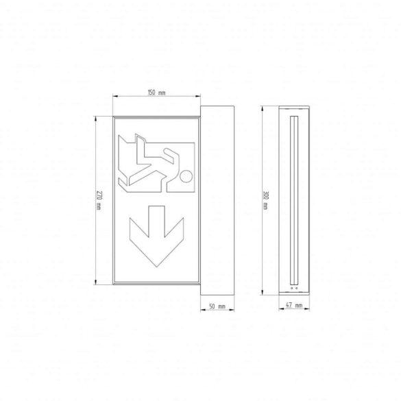 Kétoldalú Címezhető oldalfalra szerelhető kijáratmutató akkumulátoros lámpatest CL-414/ slave / CB