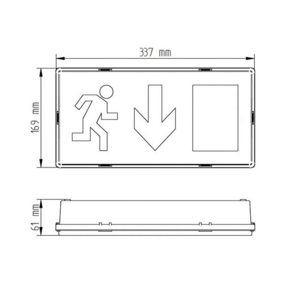 Oldalfalra szerelhető Címezhető kijáratmutató lámpatest 1Watt CL-6017/slave/MB
