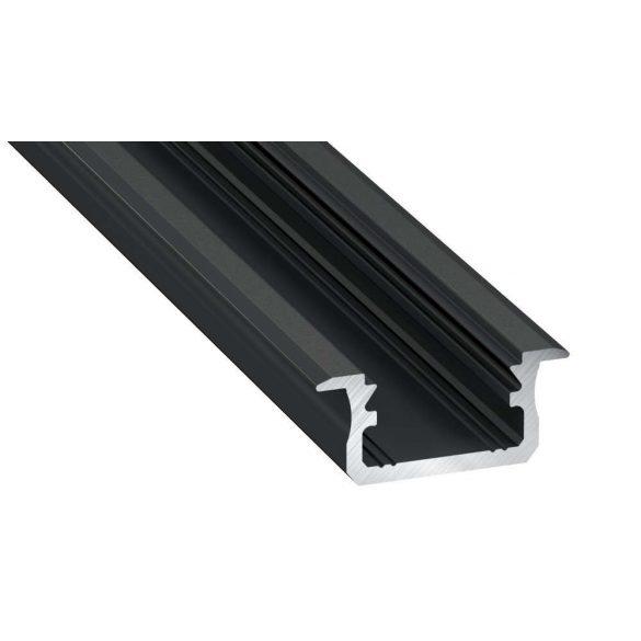 LED Alumínium Profil Beépíthető [B] Fekete 2 méter