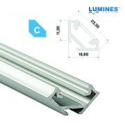 LED Alumínium Profil Sarokba rögzíthető [C] Ezüst 1 méter