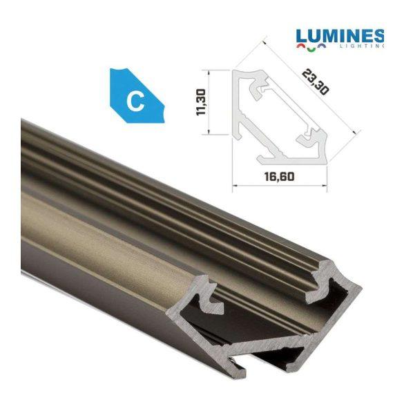 LED Alumínium Profil Sarokba rögzíthető [C] Bronz 1 méter