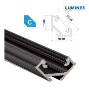 LED Alumínium Profil Sarokba rögzíthető [C] Fekete 1 méter