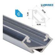 LED Alumínium Profil Sarokba rögzíthető [C] Natúr 2 méter