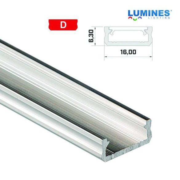 LED Alumínium Profil Általános U alakú [D] Natúr 1 méter