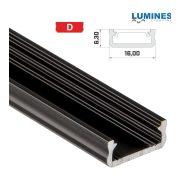 LED Alumínium Profil Általános U alakú [D] Fekete 1 méter