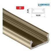 LED Alumínium Profil Általános U alakú [D] Bronz 2 méter