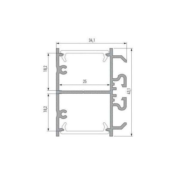 Led Alumínium Profil DOPIO 2 méter Ezüst
