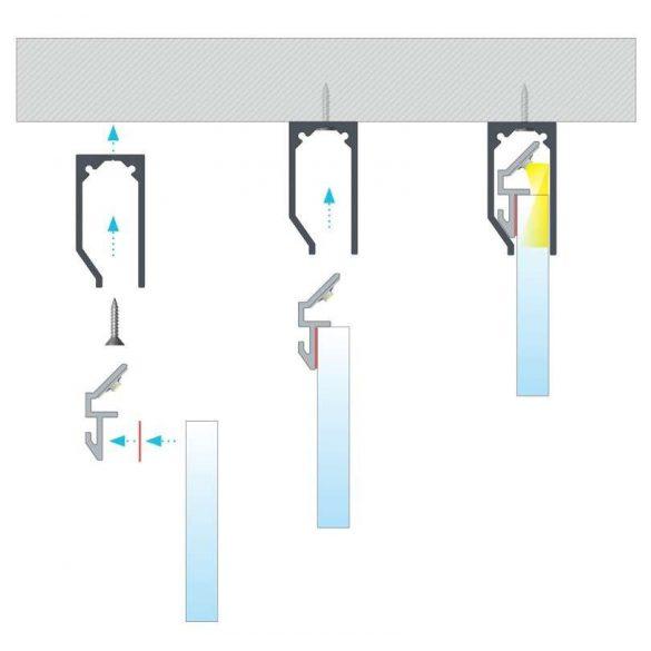 Led alumínium FARI 2 méteres szerelő profil I6 és I10 profilokhoz