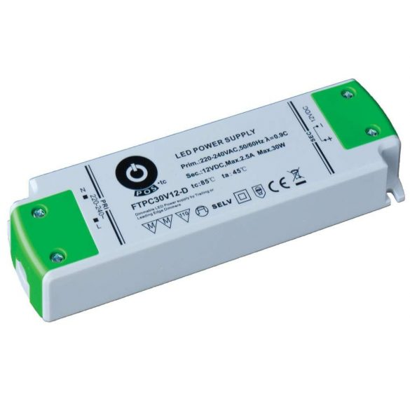 POS Led Tápegység FTPC75V12-D Triac 75W 12V 6.25A