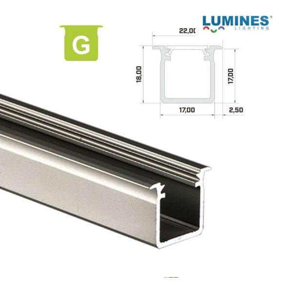 LED Alumínium Profil Beépíthető Mély [G] Natúr 1 méter