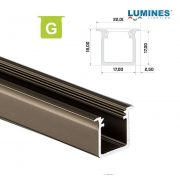 LED Alumínium Profil Beépíthető Mély [G] Bronz 2 méter