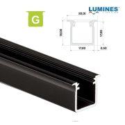 LED Alumínium Profil Beépíthető Mély [G] Fekete 2 méter