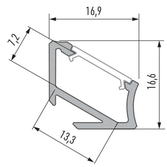 Led alumínium profil Asszimetrikus Sarokba rögzíthető (H) fekete 1 méteres alumínium