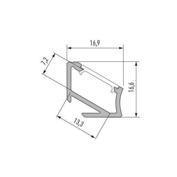LED Alumínium Profil Asszimetrikus Sarokba rögzíthető [H] Natúr 2 méter