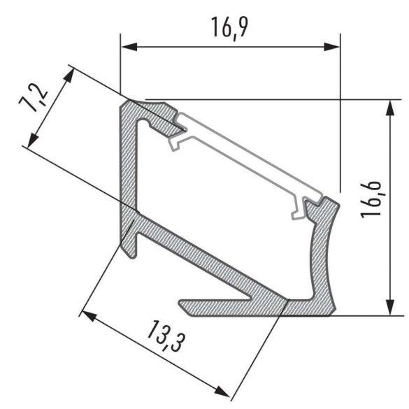 Led alumínium profil Asszimetrikus Sarokba rögzíthető (H) ezüst 2 méteres alumínium