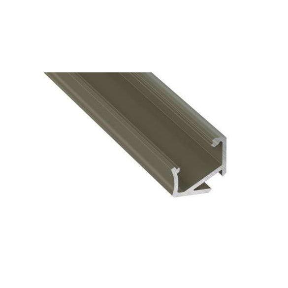 Led alumínium profil Asszimetrikus Sarokba rögzíthető (H) bronz 2 méteres alumínium