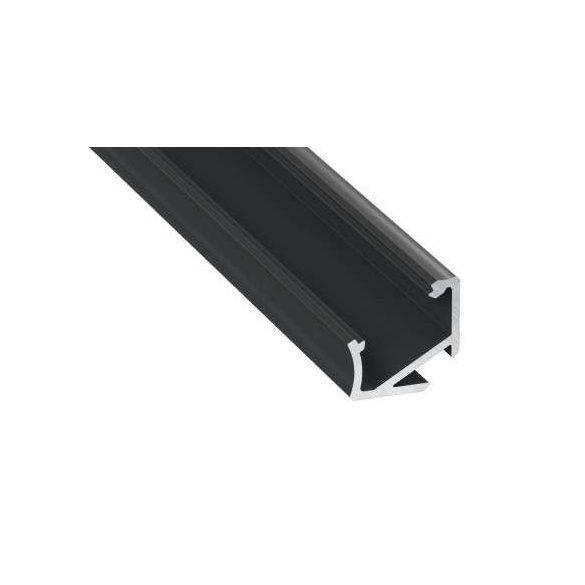 LED Alumínium Profil Asszimetrikus Sarokba rögzíthető [H] Fekete 2 méter