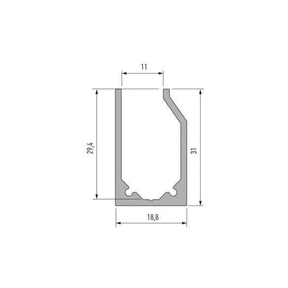 LED Alumínium Profil I10 típus Ezüst 2 méter
