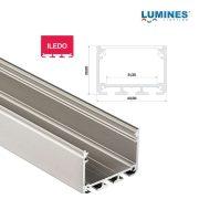 LED Alumínium Profil ILEDO Széles Magas Ezüst 1 méter