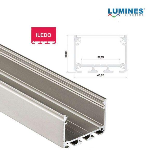 LED Alumínium Profil ILEDO Széles Magas Ezüst 2 méter