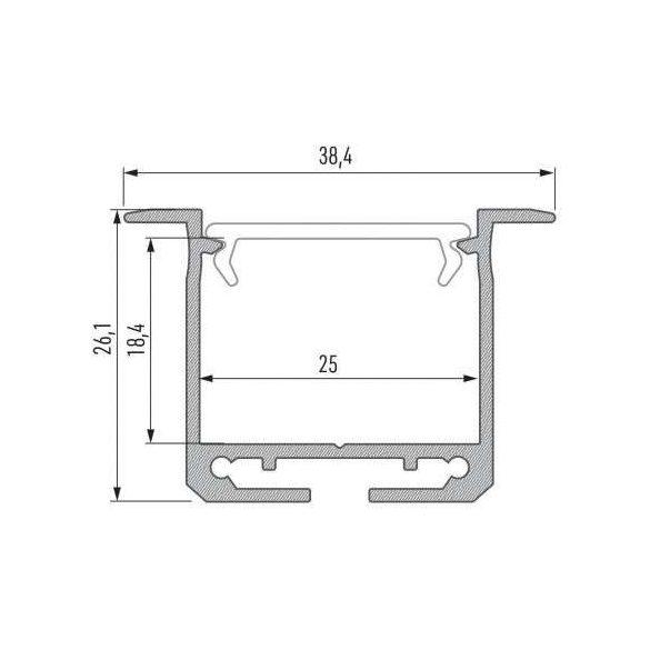 LED Alumínium Profil INDILEDA Ezüst 1 méter