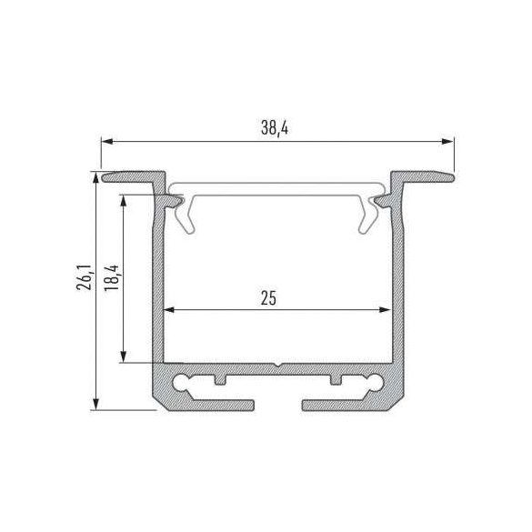 Led Alumínium Profil INDILEDA 2 méter Ezüst