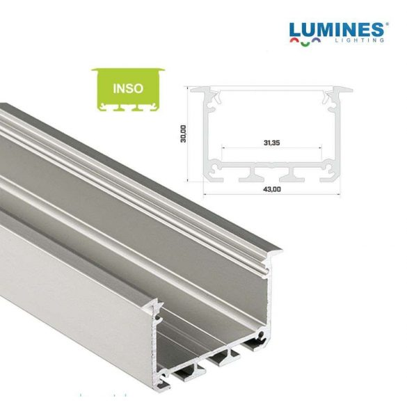 LED Alumínium Profil INSO Beépíthető Széles Mély Ezüst 1 méter