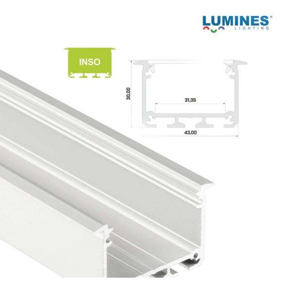 LED Alumínium Profil INSO Beépíthető Széles Mély Fehér 2 méter
