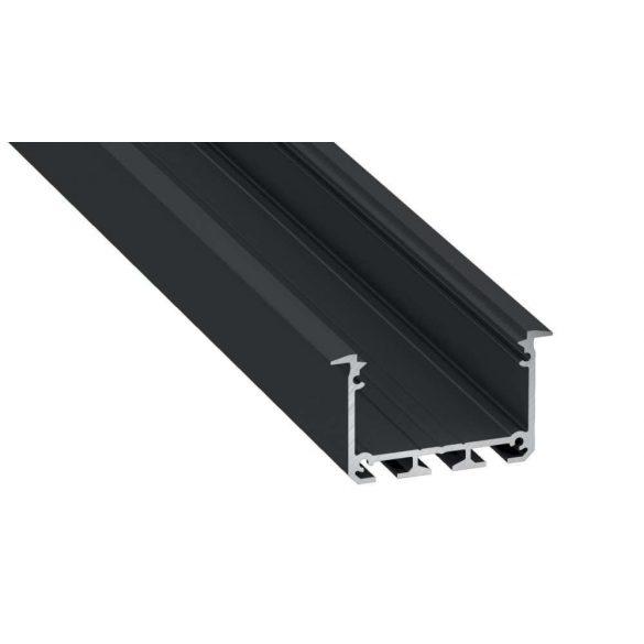 Led profil INSO led szalagokhoz Beépíthető Széles Mély Fekete 2 méteres alumínium
