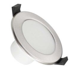 NEDES LED beépíthető lámpa kerek ezüst keret 7W meleg fehér IP44 (furat:75 mm)