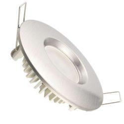 NEDES LED beépíthető lámpa kerek ezüst keret 7W természetes fehér IP44 (furat:70 mm)