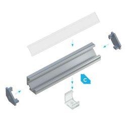 LUMINES Sarokba rögzíthető Led profil csomag Natúr 2 méter Víztiszta PMMA takaróval
